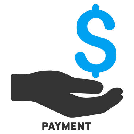 caption: Payment vector icon with caption. Symbol style is a bicolor flat symbol with rounded angles, blue and gray colors, white background. Illustration