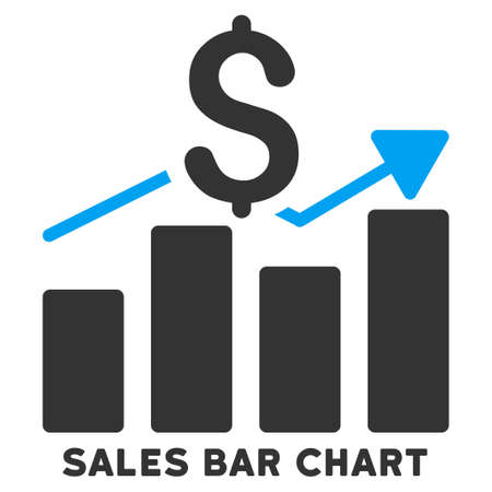 caption: Sales Bar Chart vector icon with caption. Symbol style is a bicolor flat symbol with rounded angles, blue and gray colors, white background. Illustration