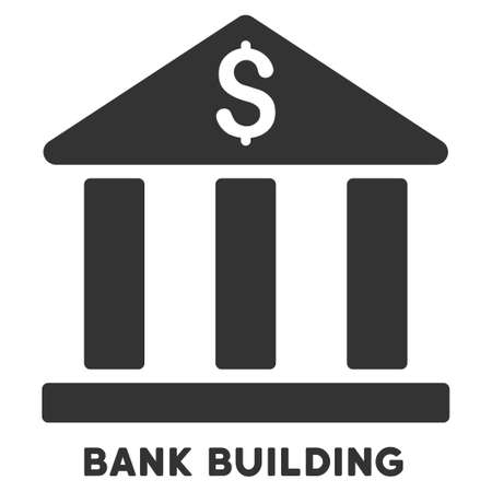 caption: Bank Building vector icon with caption. Symbol style is a flat symbol with rounded angles, gray color, white background. Illustration