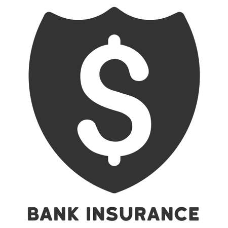 caption: Bank Insurance vector icon with caption. Symbol style is a flat symbol with rounded angles, gray color, white background.