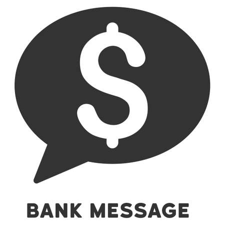 caption: Bank Message vector icon with caption. Symbol style is a flat symbol with rounded angles, gray color, white background. Illustration