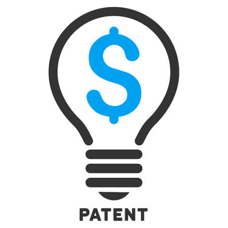 caption: Patent vector icon with caption. Symbol style is a bicolor flat symbol with rounded angles, blue and gray colors, white background.