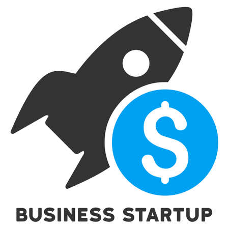 satellite launch: Business Startup glyph icon with caption. Symbol style is a bicolor flat symbol with rounded angles, blue and gray colors, white background.