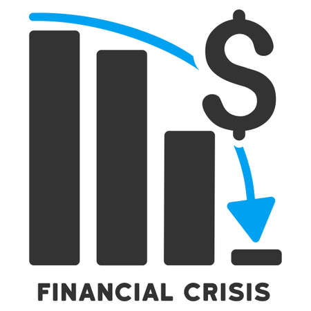 regress: Financial Crisis glyph icon with caption. Symbol style is a bicolor flat symbol with rounded angles, blue and gray colors, white background. Stock Photo