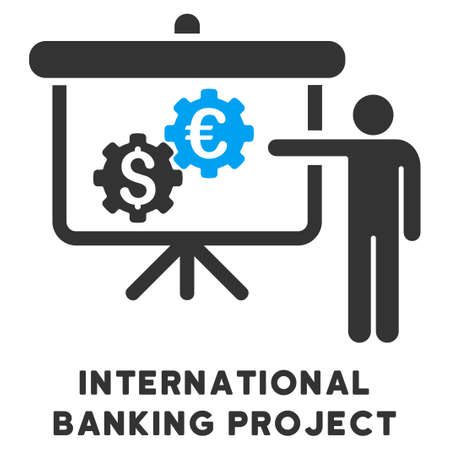 international banking: International Banking Project glyph icon with caption. Symbol style is a bicolor flat symbol with rounded angles, blue and gray colors, white background. Stock Photo
