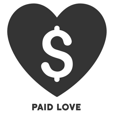 prostitution: Paid Love glyph icon with caption. Symbol style is a flat symbol with rounded angles, gray color, white background. Stock Photo