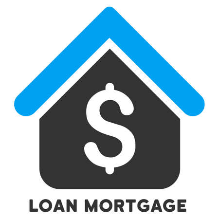 corporative: Loan Mortgage vector icon with caption. Symbol style is a bicolor flat symbol with rounded angles, blue and gray colors, white background.