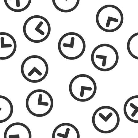 timed: Clock Seamless raster repeatable pattern. Style is flat gray symbols on a white background.
