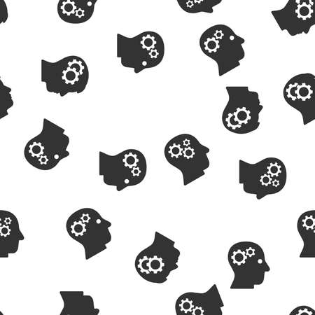 intellect: Intellect Seamless vector repeatable pattern. Style is flat gray symbols on a white background.
