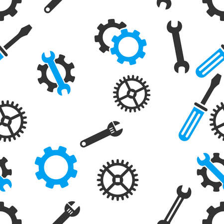hardware configuration: Mechanical Tools Seamless vector repeatable pattern. Style is flat light blue and gray symbols on a white background. Illustration