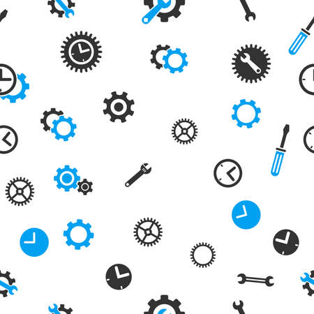 timed: Time Tools Seamless vector repeatable pattern. Style is flat light blue and gray symbols on a white background.