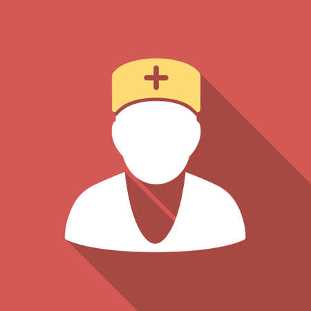 Doctor long shadow icon. Style is a light flat symbol on a red square button.