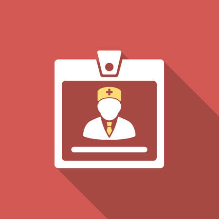 authorize: Doctor Badge long shadow icon. Style is a light flat symbol on a red square button. Illustration