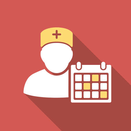 appointment: Doctor Calendar long shadow icon. Style is a light flat symbol on a red square button. Illustration