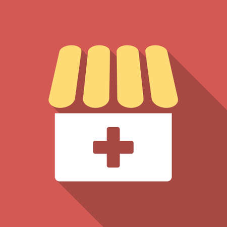 polyclinic: Drugstore long shadow icon. Style is a light flat symbol on a red square button.