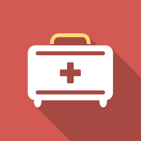 toolkit: First Aid Toolkit long shadow icon. Style is a light flat symbol on a red square button.