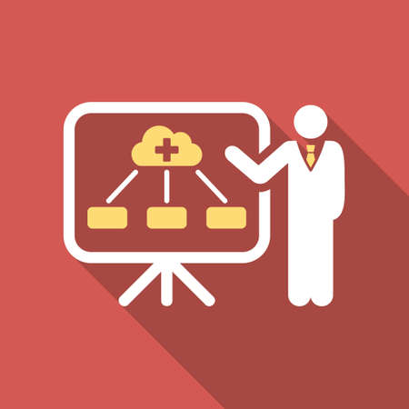 health care analytics: Health Care Structure Report long shadow icon. Style is a light flat symbol on a red square button.