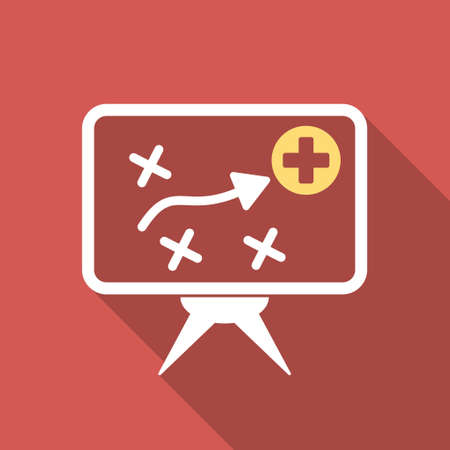 health care analytics: Health Strategy Screen long shadow icon. Style is a light flat symbol on a red square button.