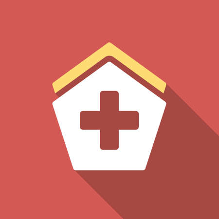 polyclinic: Hospital long shadow icon. Style is a light flat symbol on a red square button.