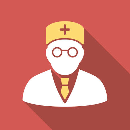 main: Main Physician long shadow icon. Style is a light flat symbol on a red square button. Illustration