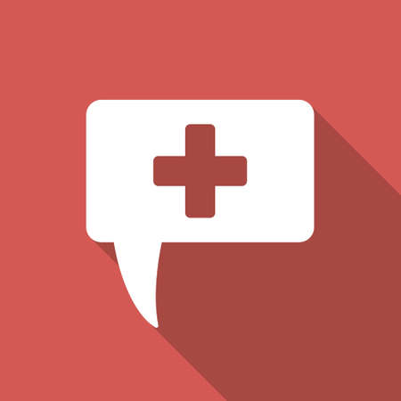health answers: Medical Answer long shadow icon. Style is a light flat symbol on a red square button. Illustration