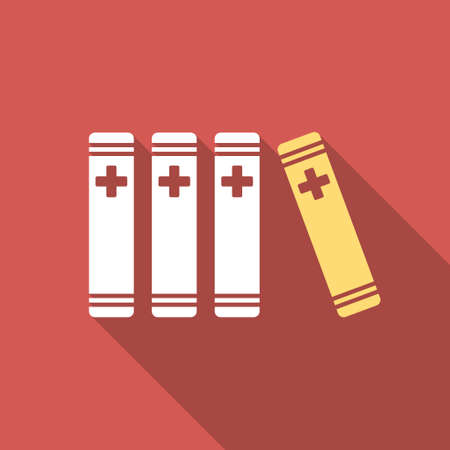 periodicals: Medical Books long shadow icon. Style is a light flat symbol on a red square button.