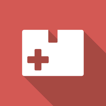 medical box: Medical Box long shadow icon. Style is a light flat symbol on a red square button.
