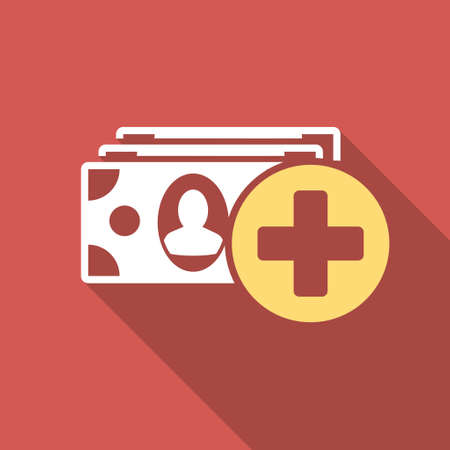 medical bills: Medical Expences long shadow icon. Style is a light flat symbol on a red square button.