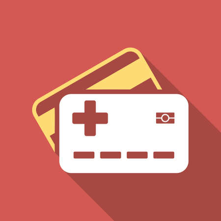 allowed to pass: Medical Insurance Cards long shadow icon. Style is a light flat symbol on a red square button.