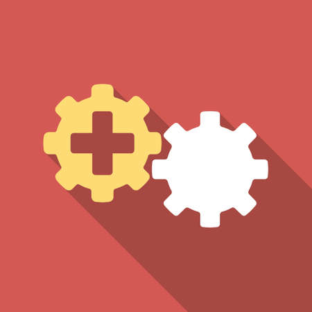 gear box: Medical Process long shadow icon. Style is a light flat symbol on a red square button.