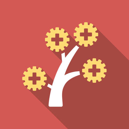 medical technology: Medical Technology Tree long shadow icon. Style is a light flat symbol on a red square button. Illustration