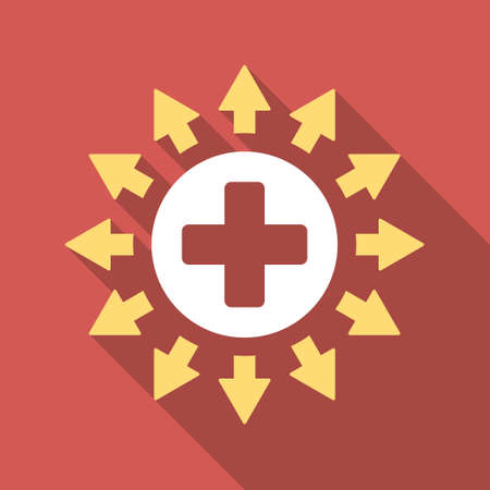 medical distribution: Pharmacy Distribution long shadow icon. Style is a light flat symbol on a red square button. Illustration
