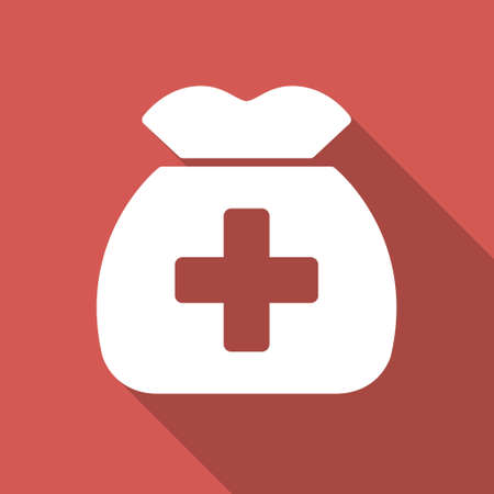 health care funding: Medical Capital long shadow icon. Style is a light flat symbol on a red square button.