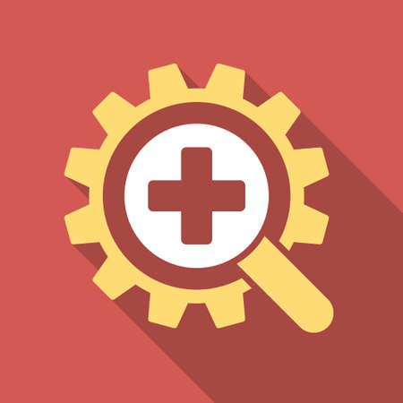 medical technology: Find Medical Technology long shadow icon. Style is a light flat symbol on a red square button.