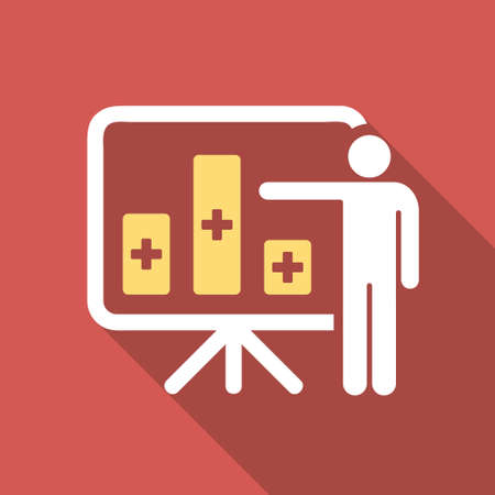 health care analytics: Medical Bar Chart Presentation long shadow icon. Style is a light flat symbol on a red square button.
