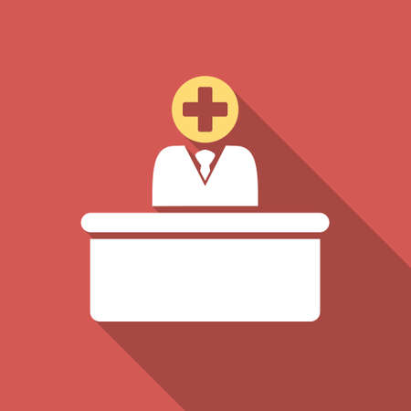 bureaucrat: Medical Bureaucrat long shadow icon. Style is a light flat symbol on a red square button.