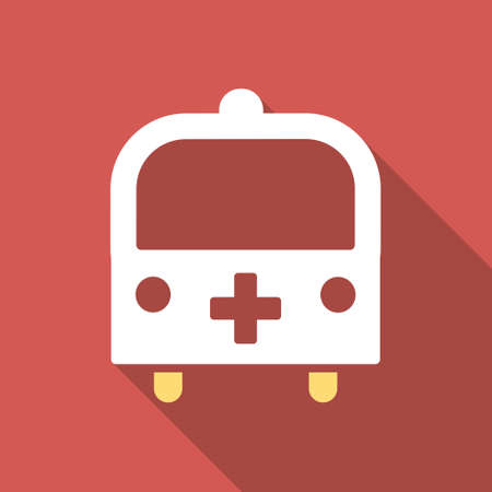 Medical Bus long shadow icon. Style is a light flat symbol on a red square button. Imagens