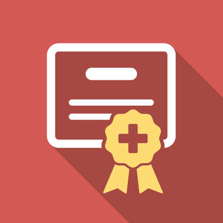 credential: Medical Certification long shadow icon. Style is a light flat symbol on a red square button.