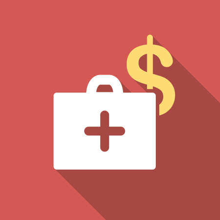 health care funding: Medical Fund long shadow icon. Style is a light flat symbol on a red square button.