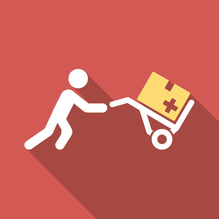 emergency cart: Medical Shopping long shadow icon. Style is a light flat symbol on a red square button.