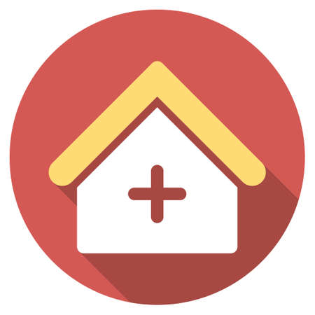 polyclinic: Clinic long shadow icon. Style is a light flat symbol on a red round button.