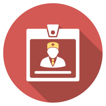 access card: Doctor Badge long shadow icon. Style is a light flat symbol on a red round button. Illustration