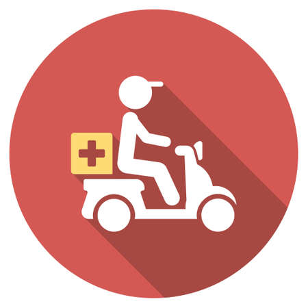 deliver: Drugs Motorbike Delivery long shadow icon. Style is a light flat symbol on a red round button.