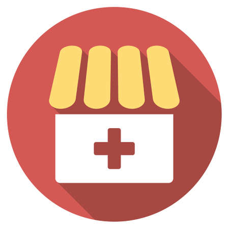 polyclinic: Drugstore long shadow icon. Style is a light flat symbol on a red round button.