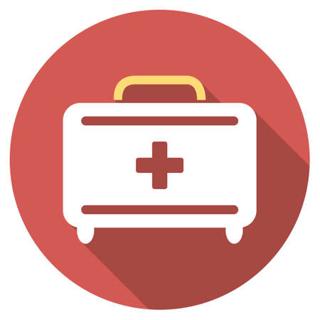 toolkit: First Aid Toolkit long shadow icon. Style is a light flat symbol on a red round button. Illustration