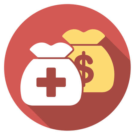 health care funding: Health Care Funds long shadow icon. Style is a light flat symbol on a red round button.
