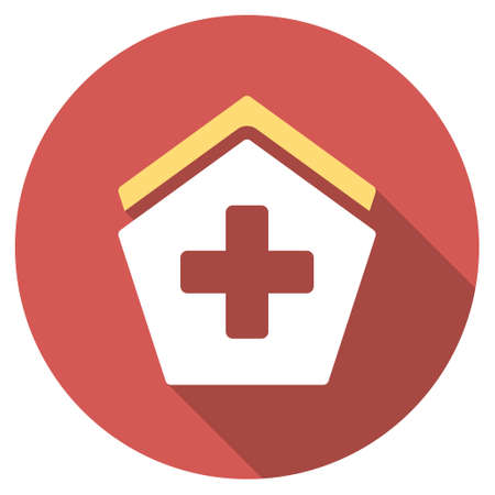 polyclinic: Hospital long shadow icon. Style is a light flat symbol on a red round button.