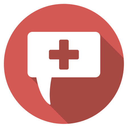 monologue: Medical Answer long shadow icon. Style is a light flat symbol on a red round button.
