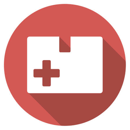 medical box: Medical Box long shadow icon. Style is a light flat symbol on a red round button.