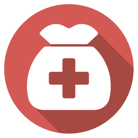 financial emergency: Medical Capital long shadow icon. Style is a light flat symbol on a red round button. Illustration
